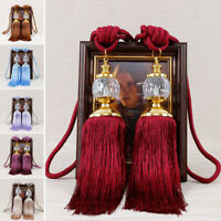2PCS Curtain Holdbacks Rope Tie Backs Tassel Tiebacks Beaded Ball Decor Surprise