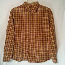 Woolrich Mens XL Flannel Shirt Plaid Brown Cinnamon Button Down Long Sleeve Top