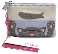 MALA Leather Cat Purse Blue Small Ladies Women's Coin Card Holder Purses RFID