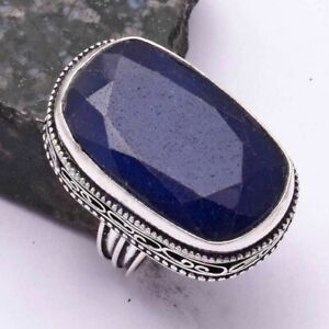 Blue Sapphire Ethnic Handmade Antique Design Ring Jewelry US Size-6.5 AR 42514
