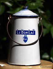 ANTIQUE FRENCH ENAMELWARE GRANITEWARE  MILK POT :  LE BON LAIT