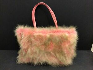 NEW Paola Fiorenza Pink Faux? Fur Leather Handle Satchel Handbag Italy