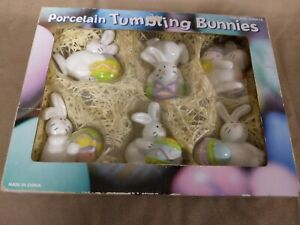 Porcelain Tumbling Bunnies Easter Decoration Rabbits And Eggs
