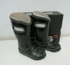 New BOGS Kids Girls- Boys Rain Boots graffiti Black Unisex  Size 10