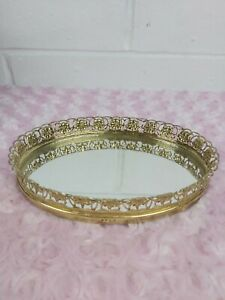 Antique/Vintage Gold Tone Perfume Jewelry Tray Ornate Mirror vanity display