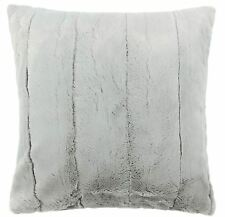 "LUXURY ALASKA SUPERSOFT SILVER GREY FAUX FUR THICK CUSHION COVER 18"" - 45CM"
