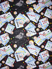 BINGO LUCKY NUMBERS GAMES OF CHANCE COTTON FABRIC 6 Inch Scrap Cut