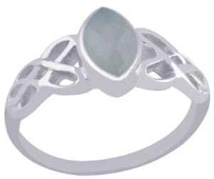 925 Sterling Silver 3.3 grams w/ Chalcedony Aqua Marquis Cut Solitaire Ring Sz 9