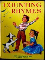 COUNTING RHYMES ~ Corinne Malvern ~ 1940's Children's BIG Golden Book 1st Ed