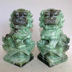 """7.3"""" Pair of Chinese Carved Green & Celadon JADEITE Jade Foo Dogs  (10+ pounds)"""