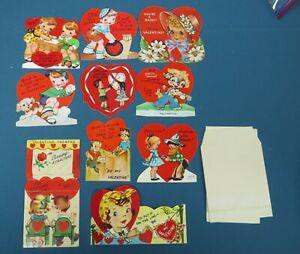 Lot of 10 Vintage School Valentine Cards