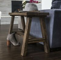 Rustic Farmhouse Side End Table Bench Solid Wood Accent Display Storage Brown