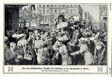 Alta marea del traffico A.D. kranzlerecke a Berlino Fortunino Matania Italian 1915