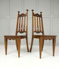 More details for arts & crafts hall chairs in mahogany
