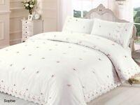 Cream duvet quilt cover & p/case bedding bed sets single double king, super king