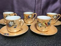 Vintage Lusterware Set of 5 Bird Cup/Saucer Demitasse, Espresso Coffee Tea Cups