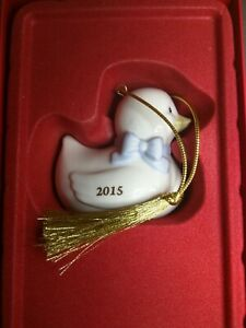 $60 NEW Lenox 2015 Baby Boy First CHRISTMAS Ornament DUCK Porcelain Bow Blue