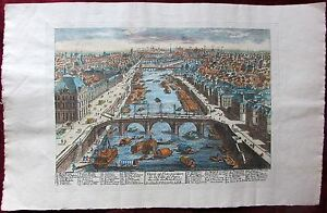 Ca 1715 Original Copperplate Engraving Piere Aveline Paris Bird Eye Pont Royal