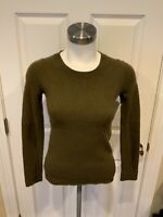 J. Crew Collection Green Italian Cashmere Crew Neck Sweater, Size XS
