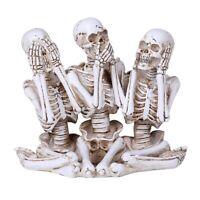 Hear See and Speak No Evil Skeleton Figurine New