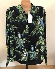 Stella McCartney Blouse Silk Tropical Bird Print Hi Low Hem 42 Womens NWT $795