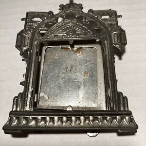 Antique Victotian Miniature Tin Ornate Picture Frame Easel Back