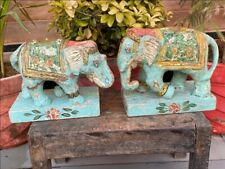 Vintage Paper Mache Hand Crafted Painted Decor Elephant Pair Figure Wood Base