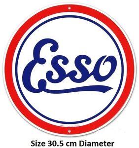 Esso Petrol Round Aluminium Tin Metal Sign RD37 Embossed Aluminium Made in USA