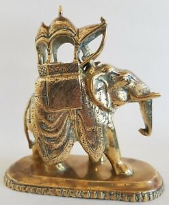 ANTIQUE BRASS ELEPHANT WITH HOWDAH & MAHOUT