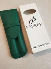 PARKER TWIN GREEN LEATHER PEN POUCH/CASE-FRANCE-BOXED-NEW OLD STOCK.