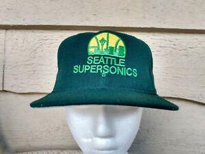 New Era fitted Hat vtg Baseball cap sz 7 Wool Seattle Supersonics Wool NBA Kemp