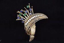 Art Déco Vintage 14k ORO AMARILLO .45ct Diamante Redondo Zafiro Emerald Broche