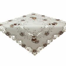 "Brown Teapot Cup Embroidery Tablecloth Table overlay 34 x 34"" White"