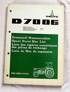 Ersatzteilliste DEUTZ D 7006 Schlepper original Ersatzteilkatalog Traktor 1973