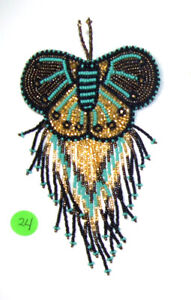 Barrette Beaded Butterfly w Fringe  French clip closure Hair accessory  Gold #24