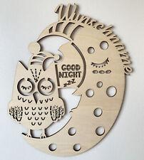 Bild Schild Eule und Mond individuelles Geburtsgeschenk Geschenk zur Geburt Deko
