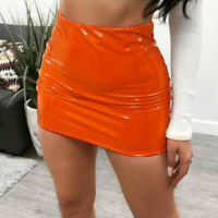 Lady PU Leather Skirts Mini Short Bodycon Shiny High Waist Sexy Club Party Multi