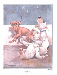 George Studdy.1922.Dog.Bonzo.Cartoon.Historical.King beaver.Dog print.Art