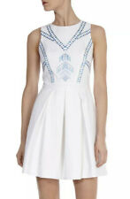 KAREN MILLEN WHITE TEXTURED DRESS WITH AZTEC BLUE EMBROIDERY UK 14 NEW
