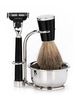 Mondial 1908 Italy Vespucci 4 Piece Mach3 Shaving Gift Set Black