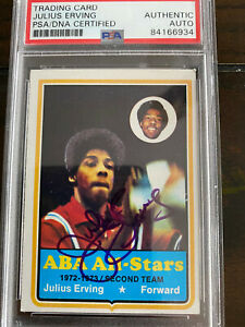 1973-74 Topps Julius Erving 2nd Year #240 all-star PSA DNA AUTO #255 Dr. J Rare