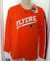 PHILADELPHIA FLYERS Reebok Youth T Shirt Size XL 18 Orange Marquee Logo Stripes