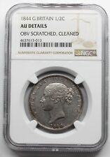 NGC AU UK GREAT Britain 1844 VICTORIA YOUNG HEAD HALF 1/2 CROWN SILVER COIN