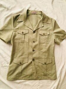 Vintage 1960s 70s FLETCHER JONES Safari Suit Shirt Mens Green Short Sleeve Shirt