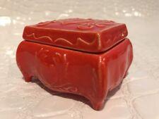 Vintage Burt Orange Glaze Duncan Enterprises 1977 Ceramic Trinket Box Dainty