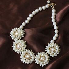 Collier Femme Fleur Perle Cristal Original Style Ancien Soirée Mariage FUN 4