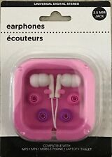 EARPHONES UNIVERSAL USE PINK And WHITE WITH PHONES LAPTOPS MP3 MP4 PLAYER TABLET