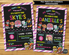 PAW PATROL GIRL PINK PARTY SUPPLIES PERSONALISED INVITATIONS INVITES CARDS