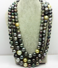 """NEW 50"""" 8-10MM NATURAL TAHITIAN BLACK MULTICOLOR ROUND PEARL NECKLACE"""