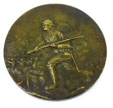Antique 1919 WWI US VICTORY French Bronze MEDAL MEDALLION By MARCEL LORDONNOIS
